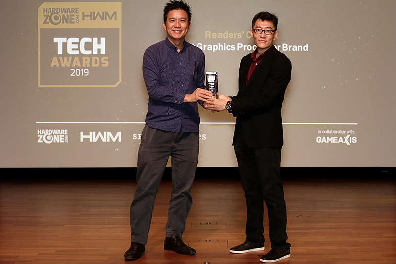 NVIDIA wins the Readers' Choice for Best Graphics Processor Brand. Accepting the trophy here is Mr. Bertrand Lim, Consumer Sales Lead, NVIDIA.
