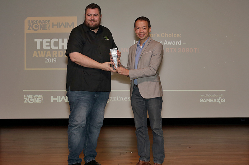 NVIDIA also wins an Innovation Award for the impressive work done on the GeForce RTX 2080 Ti. Accepting the award here is Mr. John Gilooly, Technical Product Marketing Manager, Asia Pacific South, NVIDIA.