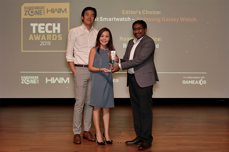 Samsung wins 4 awards this year: Editor's Choice for Best Portable External Drive (Portable SSD X5) and Best Smartwatch (Galaxy Watch); and Readers' Choice for Best SSD Brand and Best TV Brand. Accepting the awards here are Mr. Christophe Ye and Ms. Karen Lin from Samsung.