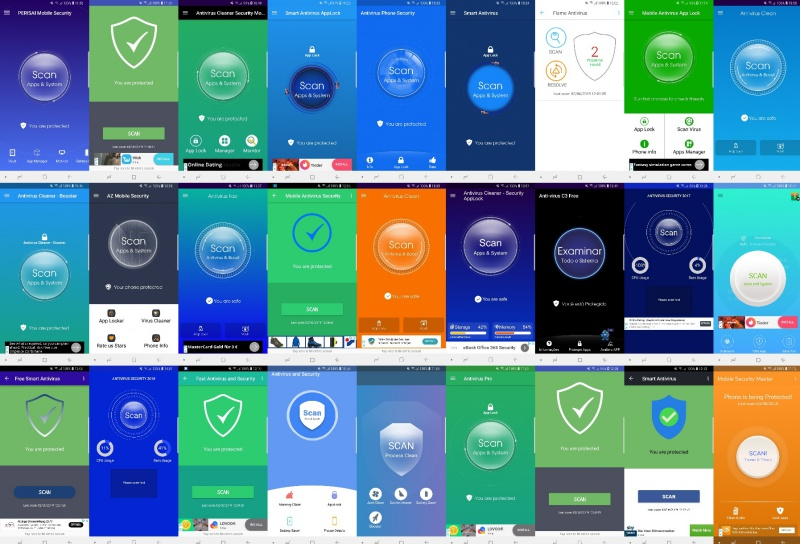 A collage of the user interfaces of Android antivirus apps. <br>Image source: AV-Comparatives