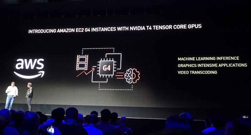 On a related note, NVIDIA Tesla T4 GPUs will be coming to Amazon Web Services too on their new EC2 G4 instances. Paired with NVIDIA CUDA-X AI acceleration software on AWS marketplace makes it ideal for deploying cost-efficient machine learning, deep learning and graphics processing.