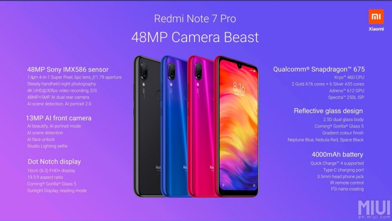 The Redmi Note 7 Pro has 48MP rear camera and 128GB storage for less
