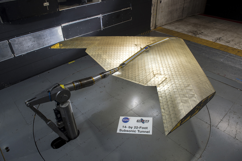 The wing structure, comprises hundreds of identical subunits, was tested in a NASA wind tunnel. Image source; Kenny Cheung, NASA Ames Research Center