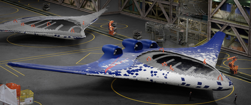 This conceptualized image shows a NASA craft that's been assembled by robots, using the same construction methods as the new wing structure. Image source: Eli Gershenfeld, NASA Ames Research Center
