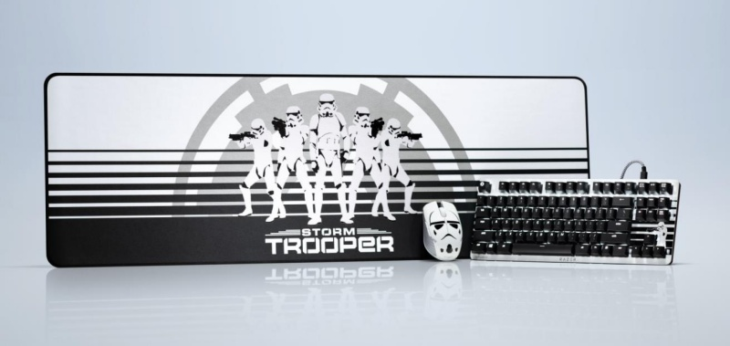 The Razer BlackWidow Lite  mechanical keyboard, Atheris wireless mouse and Goliathus Extended mouse mat feature Stormtrooper artwork.