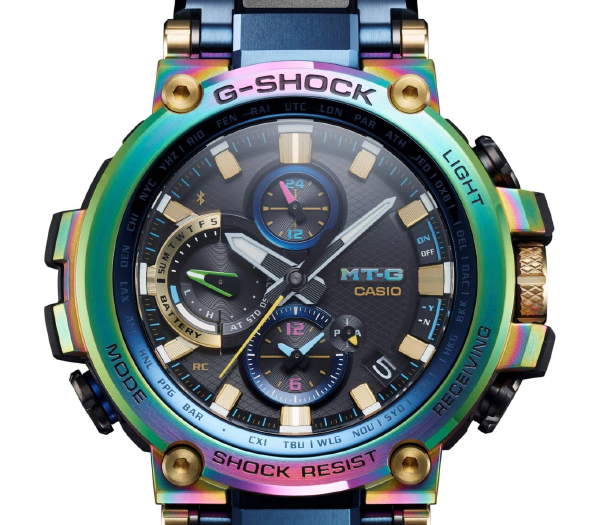 The G-Shock MTG-B1000RB can display up to two time zones simultaneously. (Image source: Casio)