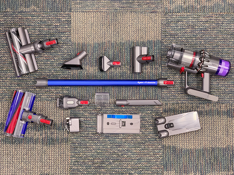 There are quite a few tools you get with the Absolute, but the more important ones are the soft roller cleaner head for hard floors, mini motorized tool for sucking tight spaces, and docking wall bracket.