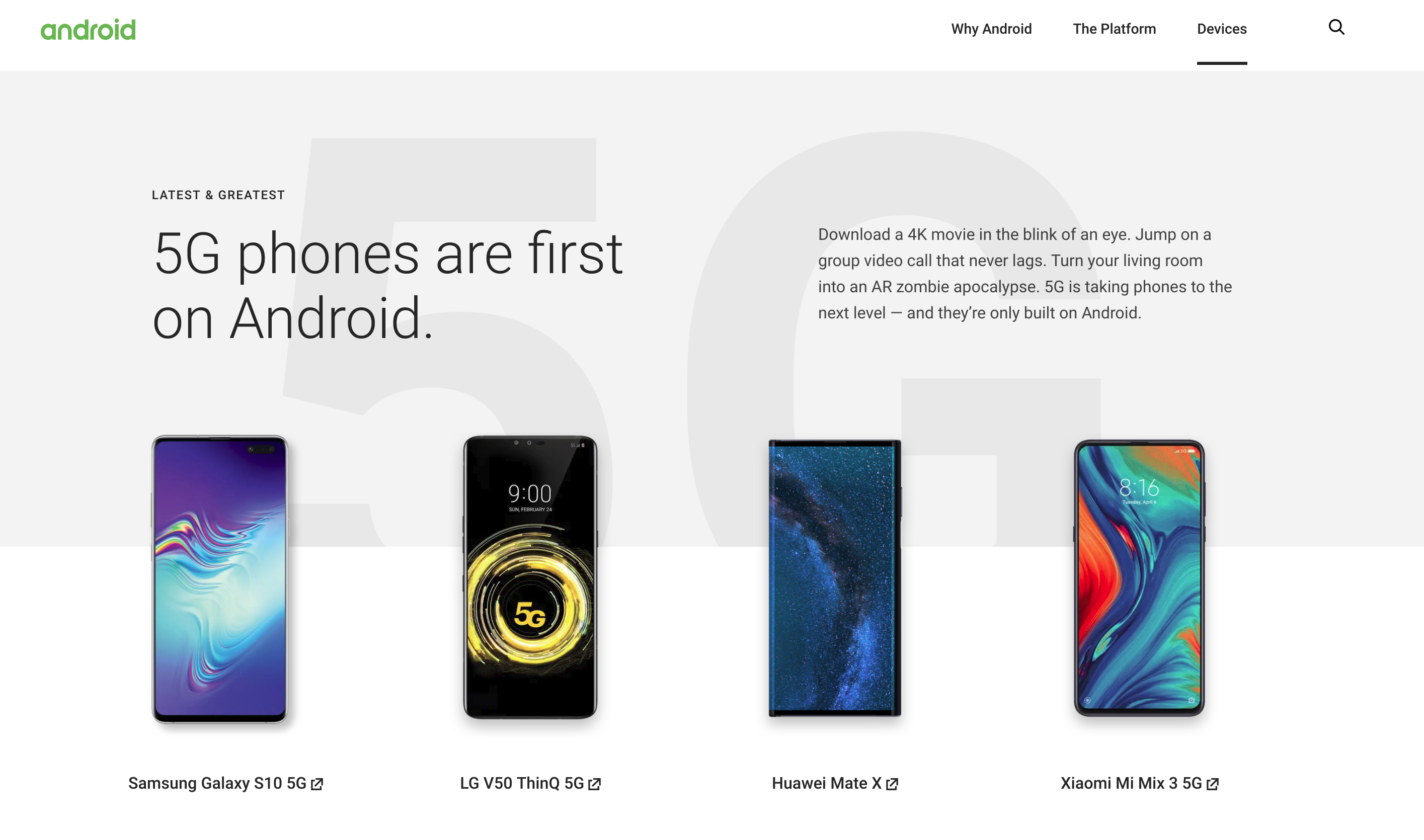 The Huawei Mate X was originally listed on the homepage.