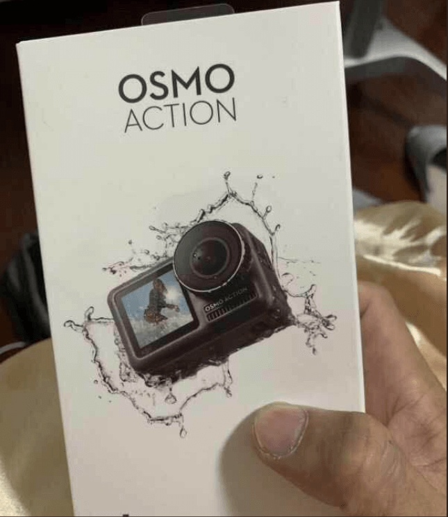 Purported retail packaging of the DJI Osmo Action. <br>Image source: dronereviewsandnews