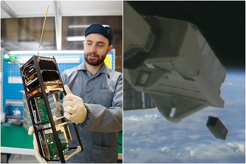 SpooQy-1 was launched by the Japan Aerospace Exploration Agency to the International Space Station in April 2019, and then deployed into orbit on June 17, 2019. (Image source: Center for Quantum Technologies, National University of Singapore; Jasa)