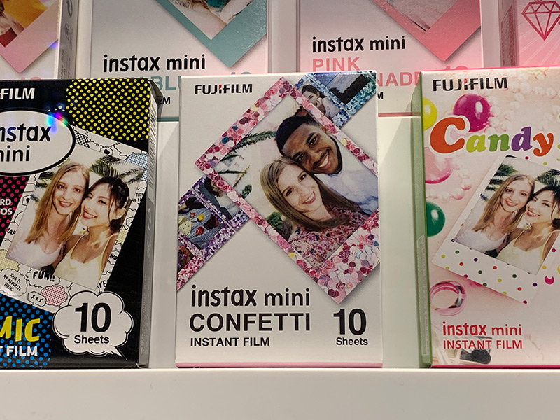 The LiPlay will work with any Instax Mini film. The latest addition is this Confetti film that adds a colorful metallic frame to the photo.