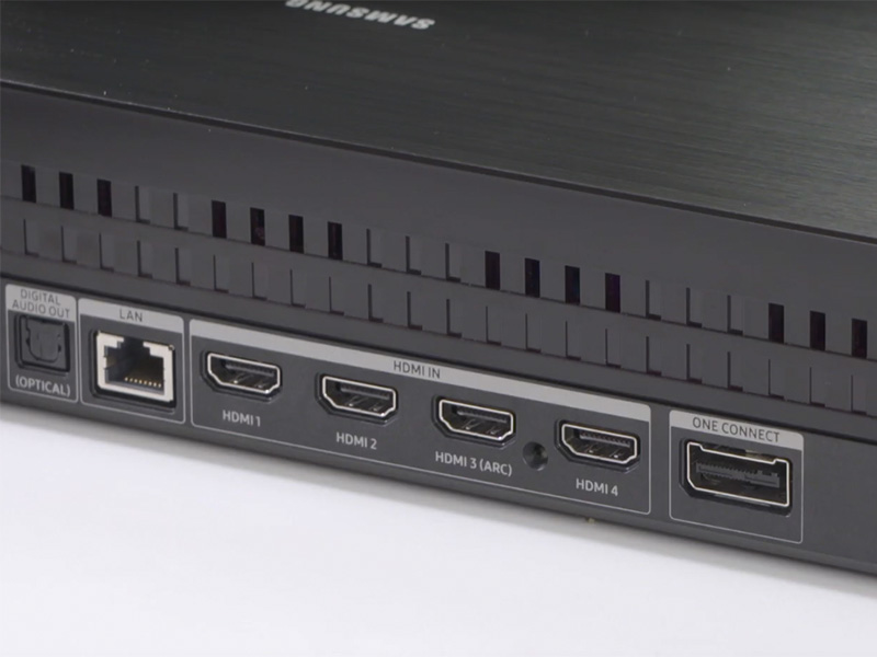 Samsung's 2019 Q900R 8K QLED TVs support HDMI 2.1 through HDMI port #4 on the One Connect box. (Image source: Samsung Care.)
