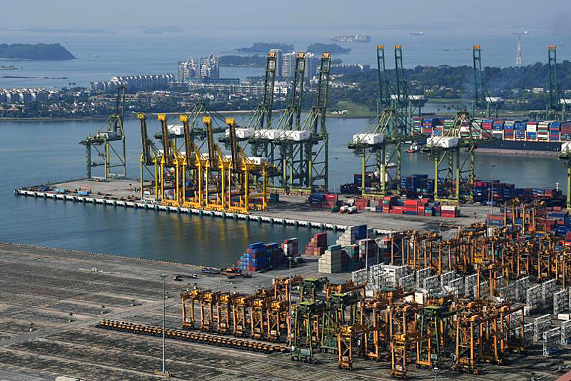 One of the key uses of 5G here is in smart port management, where the operator can remotely control driverless cranes and trucks to load and unload containers, or remotely inspect machines using driverless drones. Photo: ST File