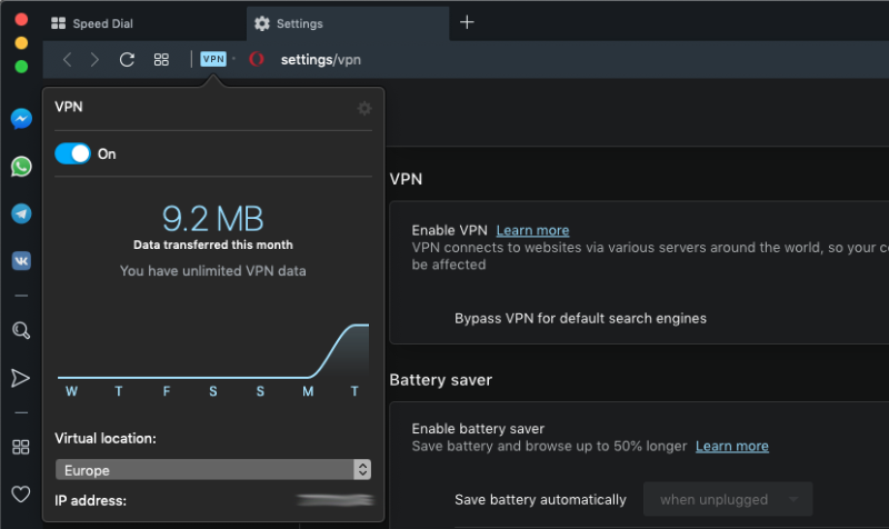 Opera is the only browser to come with a free built-in VPN, though its effectiveness is debatable.