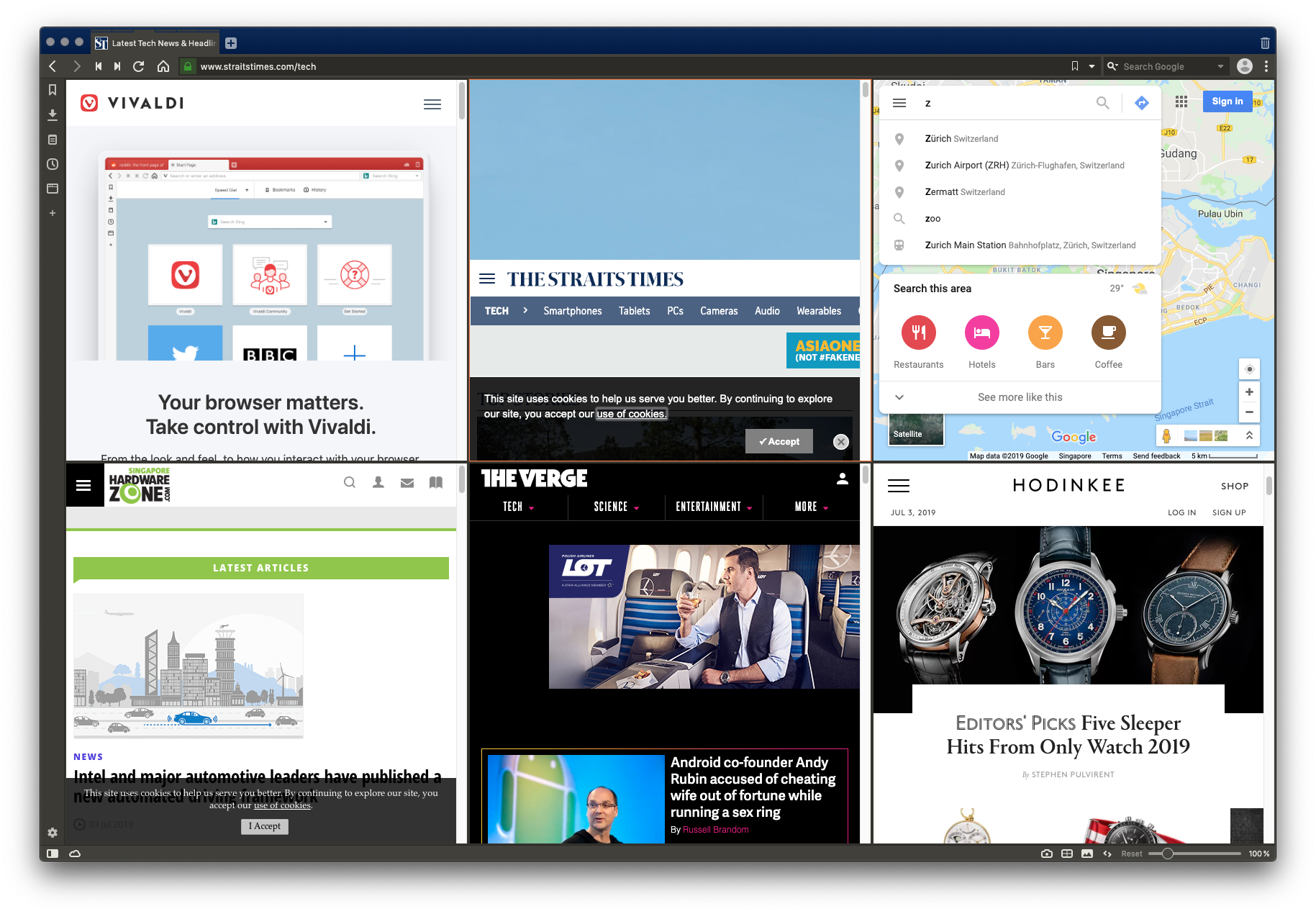 Tile view lets you see all tabs in a tab stack in a single window.