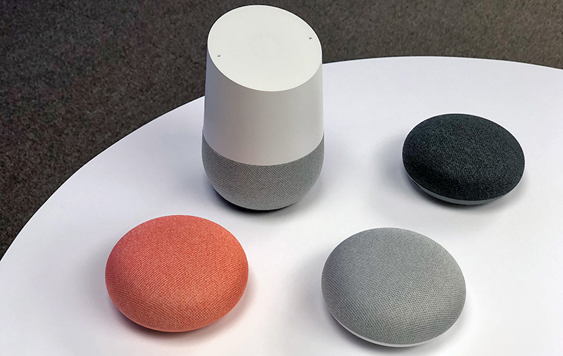 Google Home and Home Mini smart speakers.