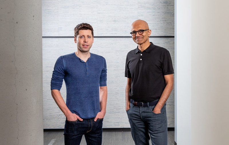 Sam Altman, CEO of OpenAI (left) and Microsoft CEO Satya Nadella. (Image: Microsoft.)