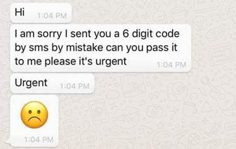 SPF: Don't give your WhatsApp verification code to anyone if