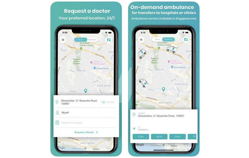 You can now book a private ambulance through the Speedoc app. (Image: Apple App Store.)