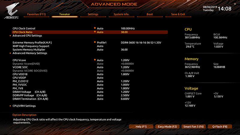 You can find most of the key overclocking settings in the Tweaker section.