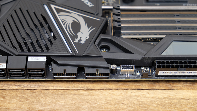 The front panel USB-C header is located in the middle of the board, adjacent to the USB 3.2 (Gen 1) internal headers.
