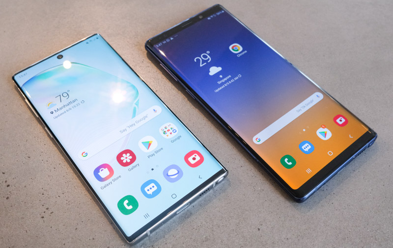The Galaxy Note10 has a much higher screen-to-body ratio than the Note9.