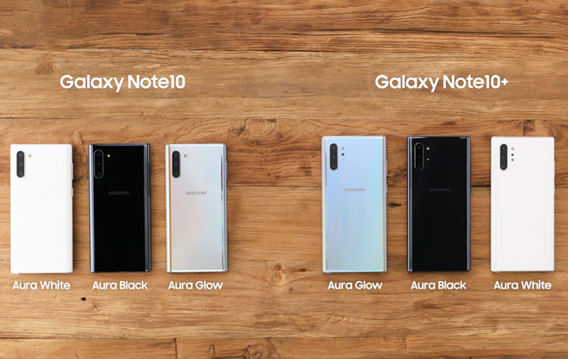 All the colour options available in Singapore for the Galaxy Note10 series.