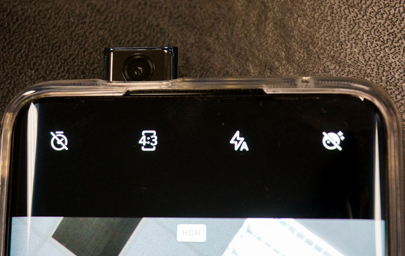 The pop-up selfie camera raises and retracts quite smoothly.