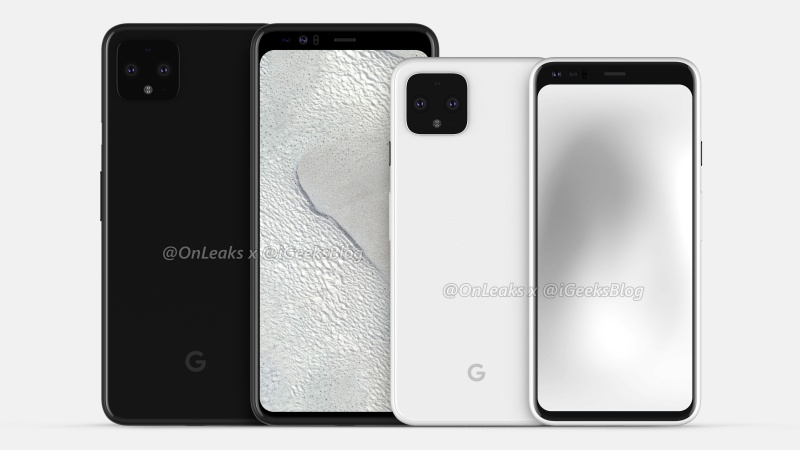 The Google Pixel 4 XL (left) and Google Pixel 4 (right).