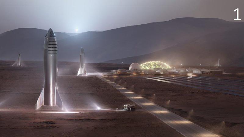 An artist's rendering of Starships on Mars. (Image Source: Elon Musk via Twitter)
