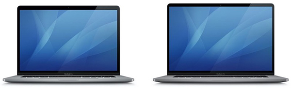 Icon of the 15-inch MacBook Pro on the left and the new 16-inch MacBook Pro on the right. (Image source: MacRumors)
