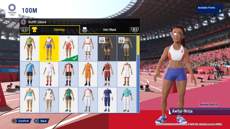 A lot of clothing options are also available, with more that can be unlocked with points earned during gameplay!