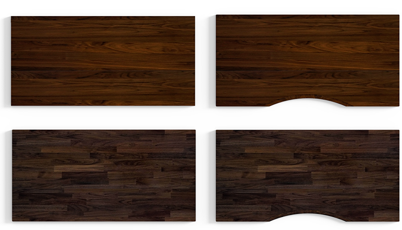 Walnut Plank at the top, Finger-joint at the bottom. (Image Source: Omnidesk)