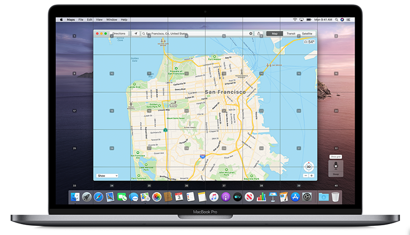 Here, grids appear on the screen so that voice commands can be used to zoom in on specific sections. (Image source: Apple)