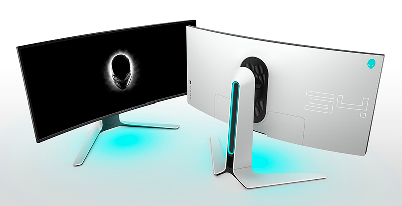 The Alienware 34 comes in a Lunar Light colour. (Image Source: Alienware)