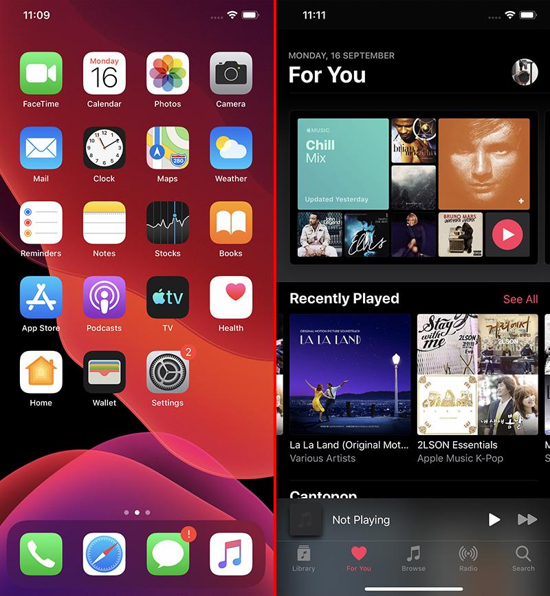 iOS 13 looks great in Dark Mode.