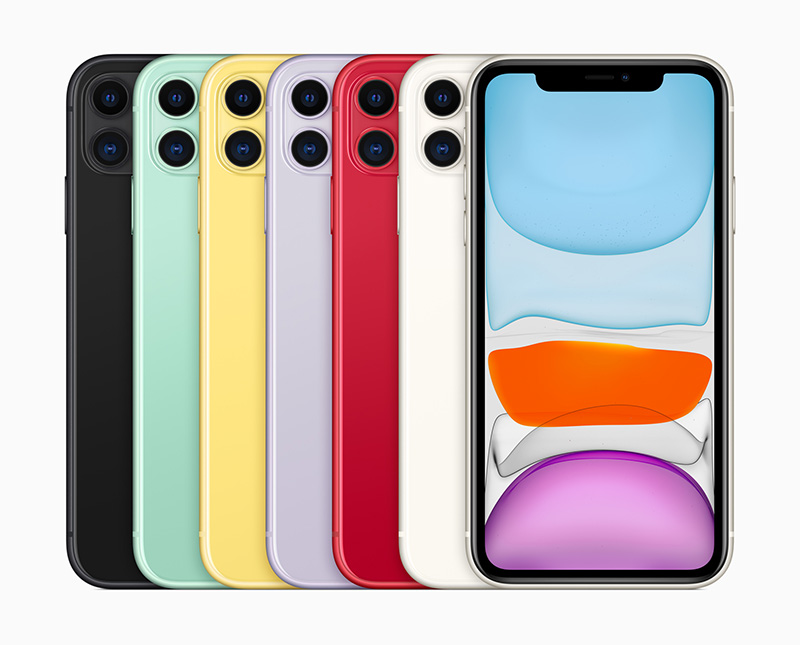 The iPhone 11 comes in six colours. From left to right: black, green, yellow, purple, PRODUCT(RED), and white.