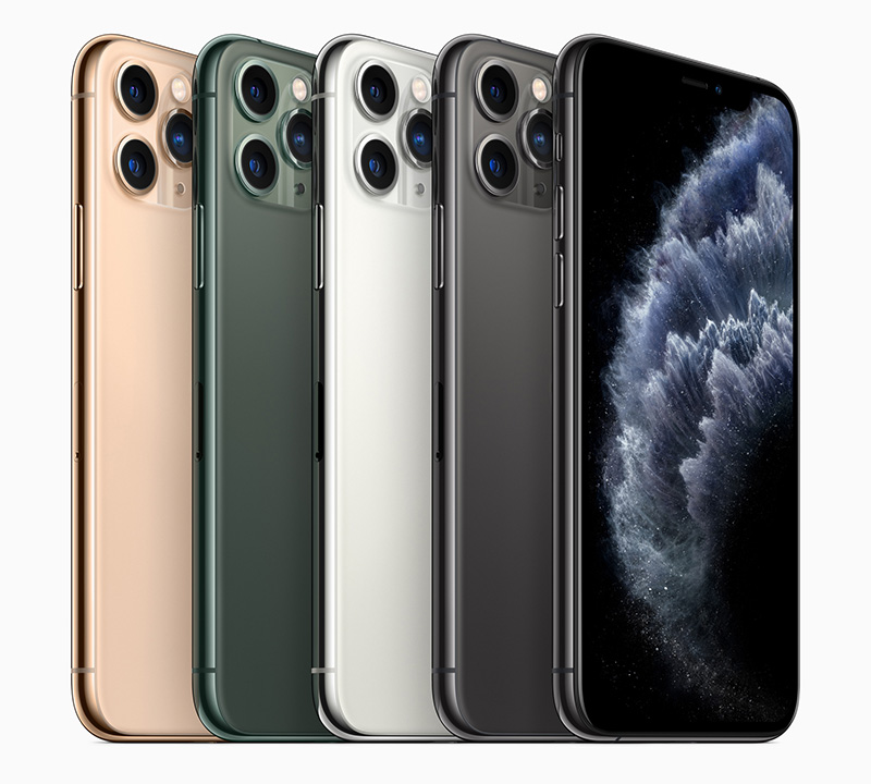 The iPhone 11 Pro comes in four colours. From left to right: gold, midnight green, silver, and space grey.