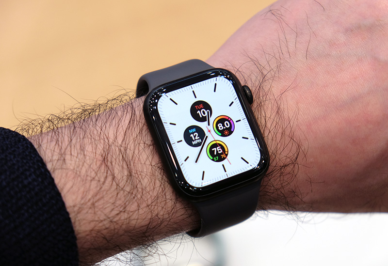Here's the Apple Watch Series 5 in Space Black titanium.