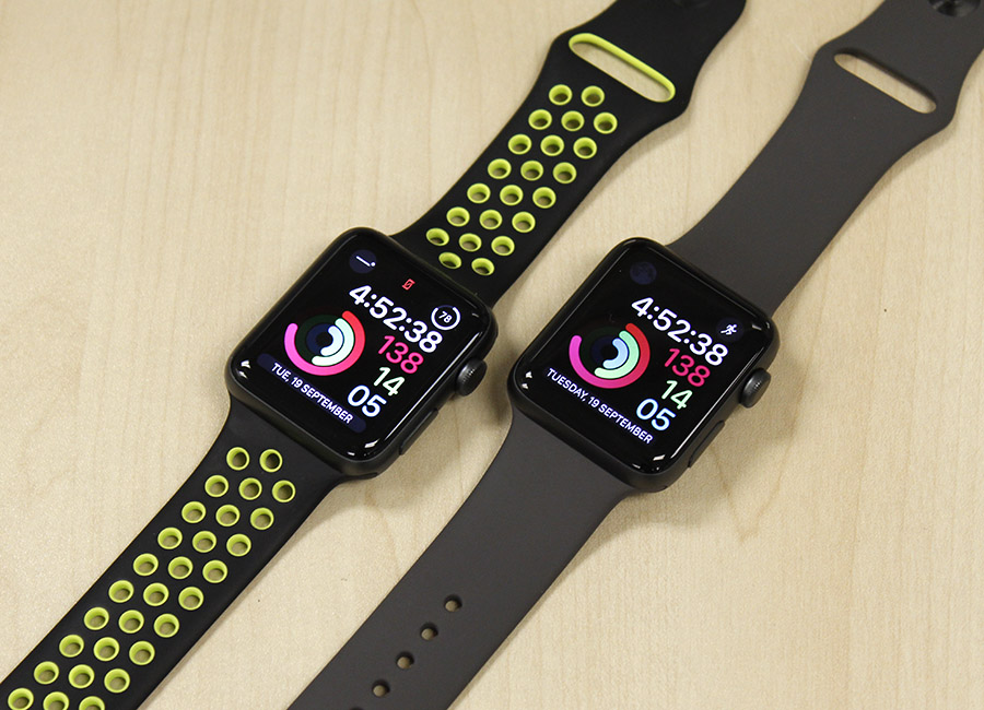 The Apple Watch Series 3 (left) and Series 2 (right).