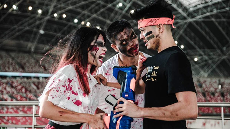 Fight zombies with Nerf guns in Zedtown Asia: Battle of