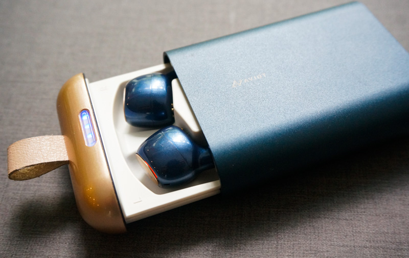 The blue LEDs on the top of the case indicate remaining battery life.