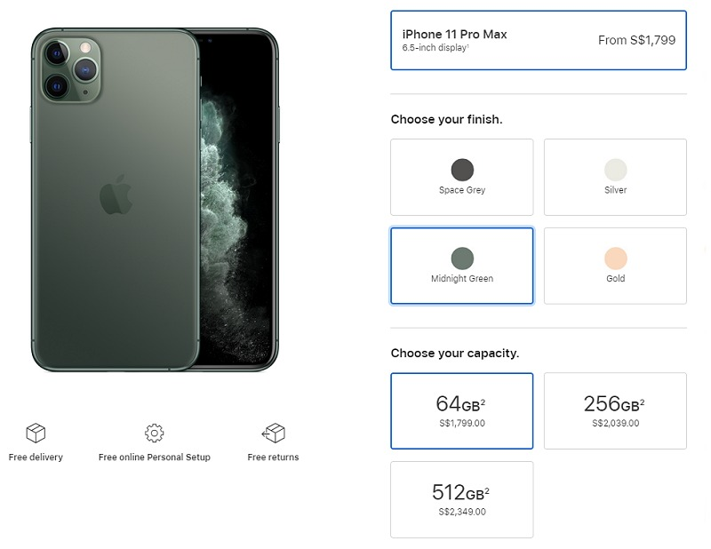 Apple iPhone 11 Pro Max local pricing. (Image Source: Apple Store)