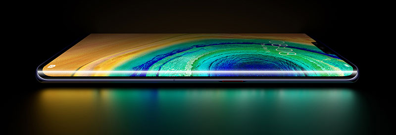 The Mate 30 Pro's Horizon Display is curved 88 degrees, almost to the back. Source: Huawei
