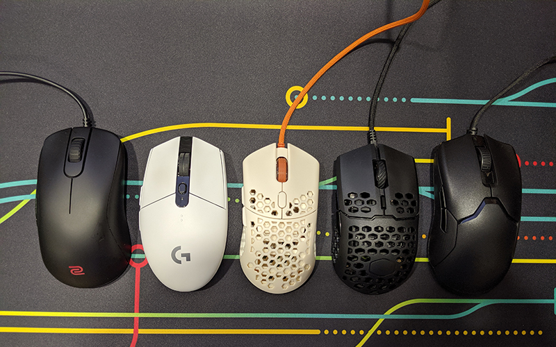 From left: Zowie S2, Logitech G305, Finalmouse Ultralight 2, Cooler Master MM710, Razer Viper.