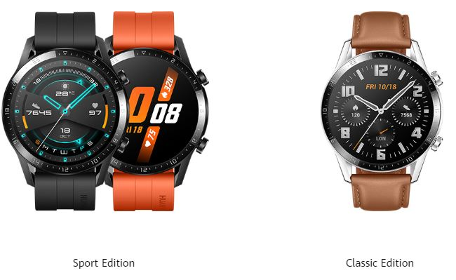 46mm models of the Huawei Watch GT 2. Singapore doesn't get the orange sports strap model though.