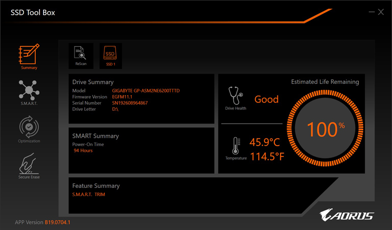 The Aorus SSD Tool Box is a simple but functional SSD utility.