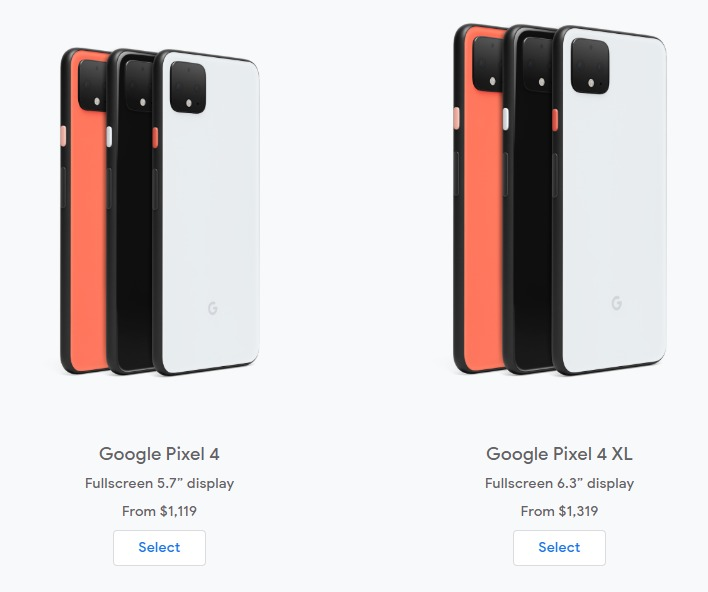 Local prices for the Pixel 4 devices.