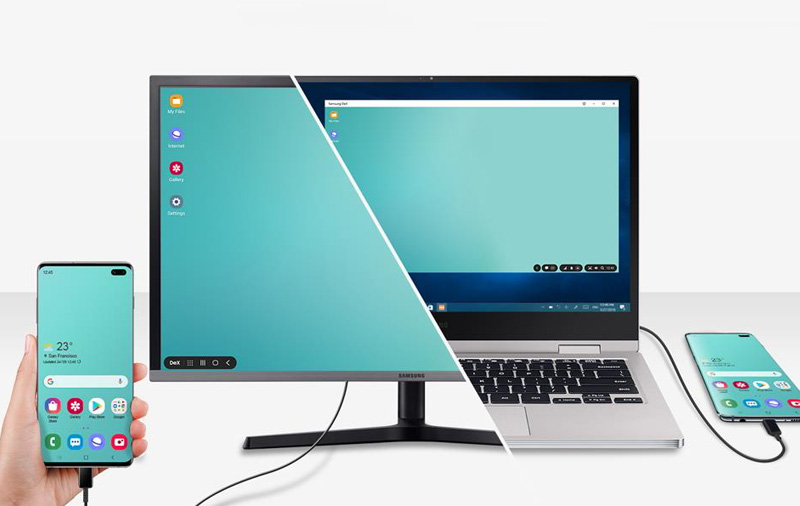 Control your S10 with your computer's keyboard and mouse with DeX.