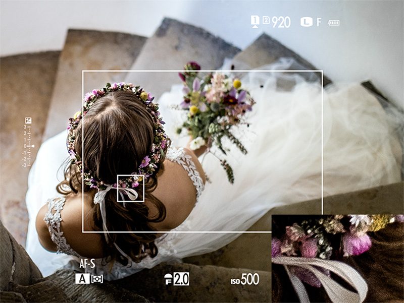 The Hybrid EVF gives you additional shooting information in real-time.